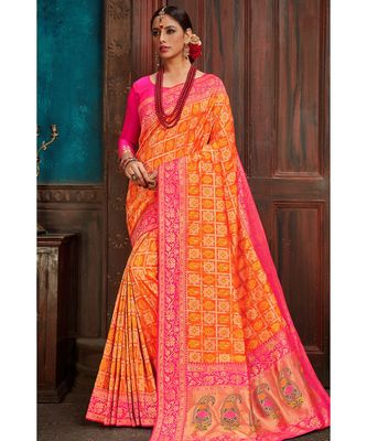 Beautiful orange pink banarasi bandhej fusion saree with blouse