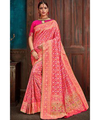 Beautiful pink banarasi bandhej fusion saree with blouse