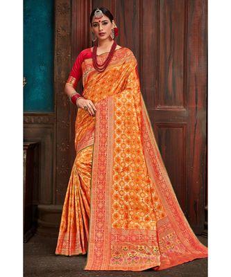 Beautiful mango orange red banarasi bandhej fusion saree with blouse