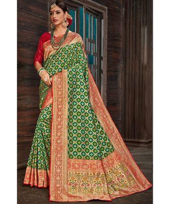Beautiful bottle green red banarasi bandhej fusion saree with blouse