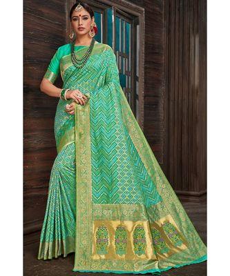 Beautiful turquoise blue banarasi bandhej fusion saree with blouse