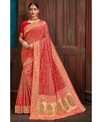 Beautiful royal red banarasi bandhej fusion saree with blouse