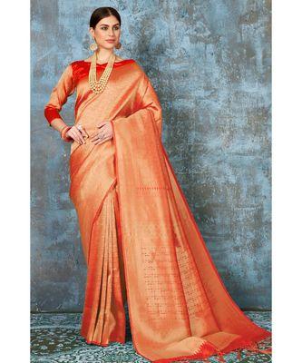 Bright orange woven kanjivaram saree with blouse