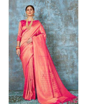 Watermelon pink woven kanjivaram saree with blouse
