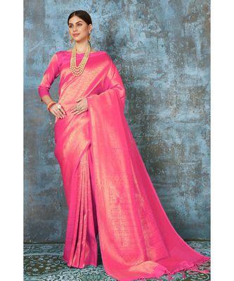 Bright baby pink woven kanjivaram saree with blouse