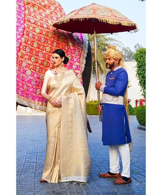 White gold woven kanjivaram saree with blouse