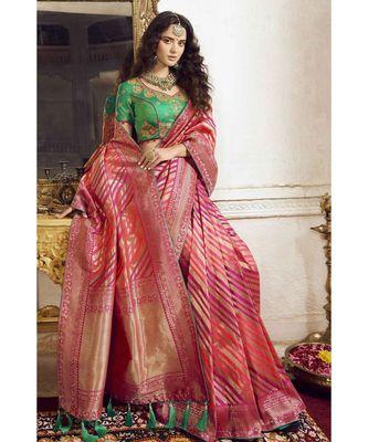 Pink woven designer banarasi saree with embroidered silk blouse