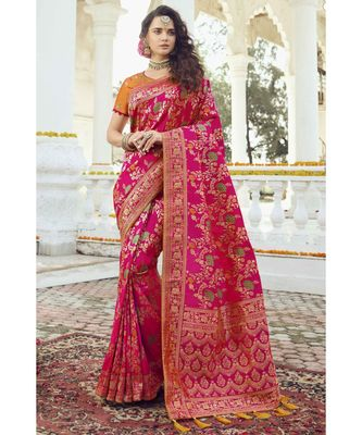 Deep pink floral woven designer banarasi saree with embroidered silk blouse