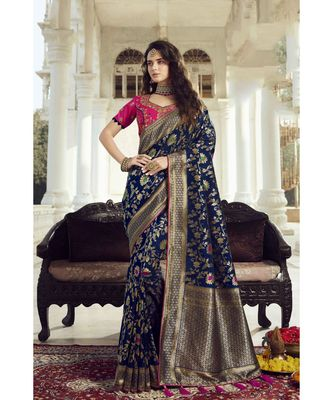 Bridal navy blue woven designer banarasi saree with embroidered silk blouse