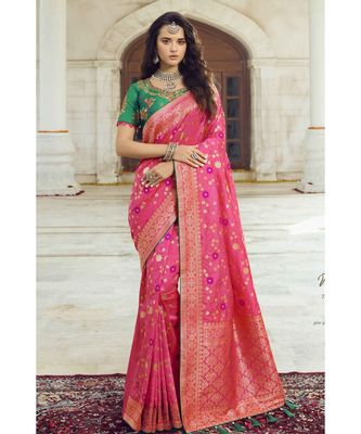 Pastel pink woven designer banarasi saree with embroidered silk blouse