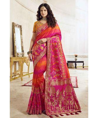 Orange pink shaded woven designer banarasi saree with embroidered silk blouse