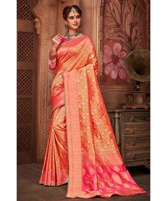 Golden pink woven tissue kanjivaram saree with blouse