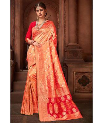 Golden red woven tissue kanjivaram saree with blouse