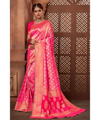 Pink woven tissue kanjivaram saree with blouse