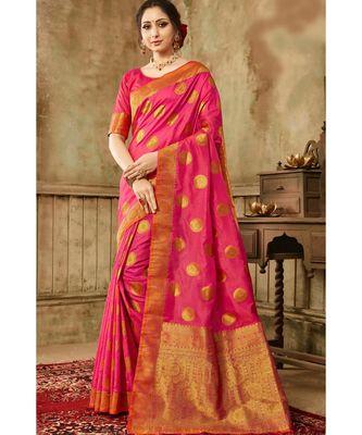 Hot pink woven kanjivaram saree with blouse