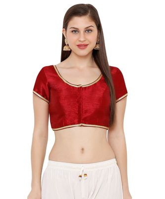 Women's Maroon Cotton Silk Round Neck Solid Readymade Saree Blouse