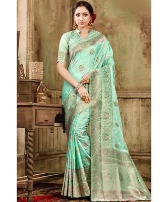 Pastel green woven kanjivaram saree with blouse