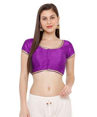 Women's Brinjal Cotton Silk Round Neck Solid Readymade Saree Blouse