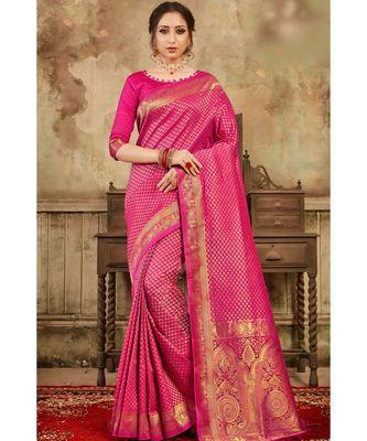 Deep pink woven kanjivaram saree with blouse