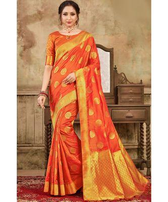 Sunrise orange woven kanjivaram saree with blouse