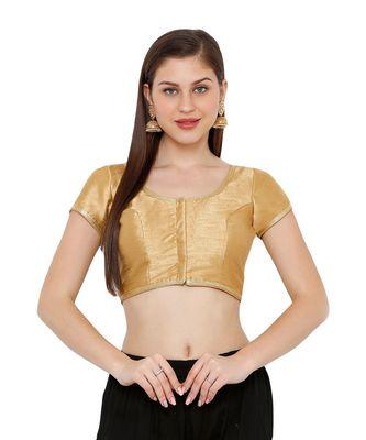 Women's Gold Cotton Silk Round Neck Solid Readymade Saree Blouse