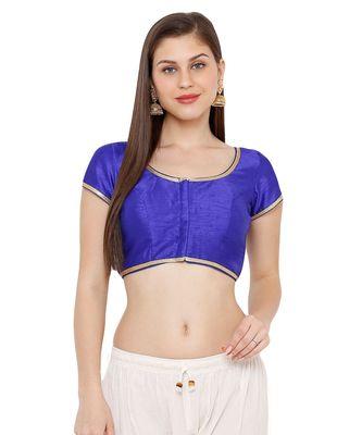 Women's Royal Blue Cotton Silk Round Neck Solid Readymade Saree Blouse