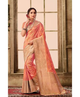 Peach pink woven kanjivaram saree with blouse