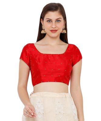 Women's Red Dupion Silk Square Neck Solid Readymade Saree Blouse
