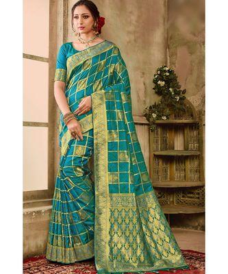 Blue green woven kanjivaram saree with blouse