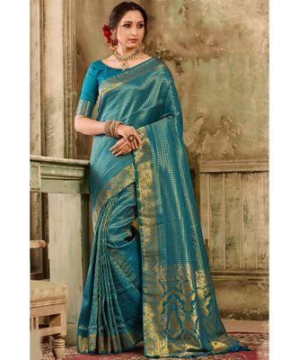 Deep blue woven kanjivaram saree with blouse