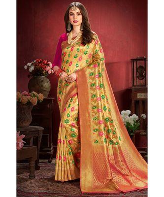 Golden beige woven tissue kanjivaram saree with blouse
