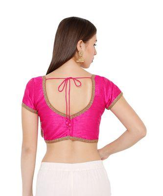 Women's Pink Dupion Silk Solid Round Neck Readymade Saree Blouse