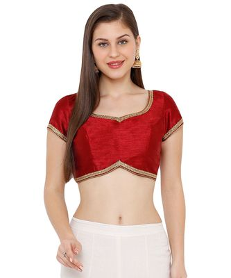 Women's Maroon Dupion Silk Solid Round Neck Readymade Saree Blouse