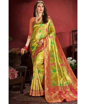 Greenish golden woven tissue kanjivaram saree with blouse
