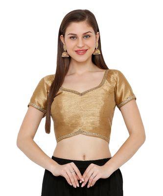 Women's Copper Dupion Silk Solid Round Neck Readymade Saree Blouse