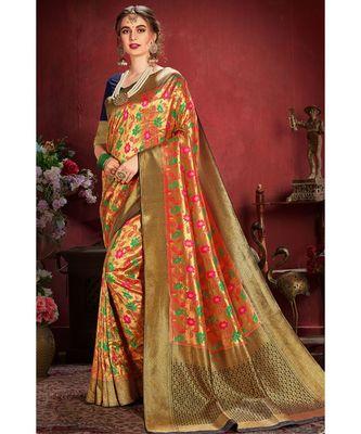 Golden blue woven tissue kanjivaram saree with blouse