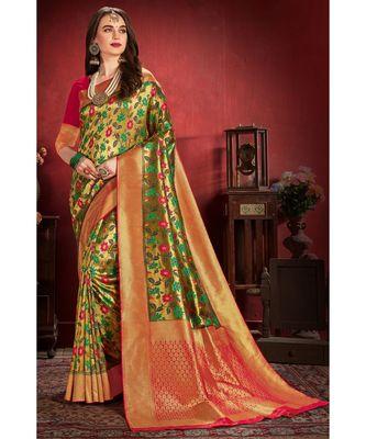 Bronze gold woven tissue kanjivaram saree with blouse