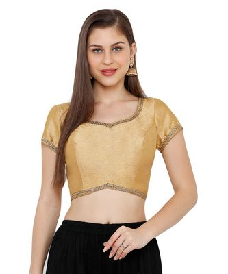 Women's Gold Dupion Silk Solid Round Neck Readymade Saree Blouse
