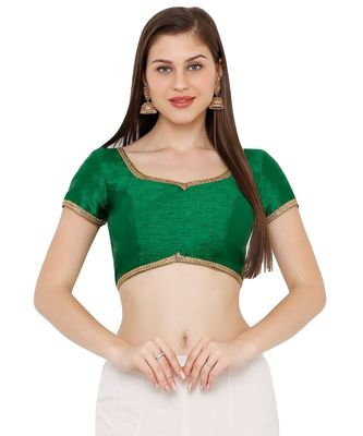 Women's Green Dupion Silk Solid Round Neck Readymade Saree Blouse