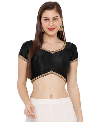 Women's Black Dupion Silk Solid Round Neck Readymade Saree Blouse