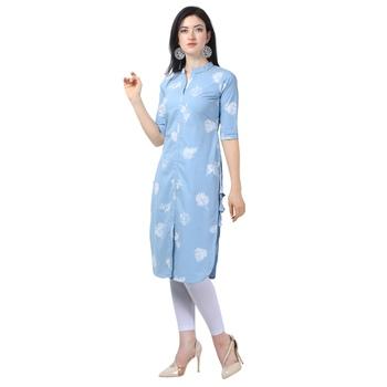 Light Blue Lafer Cotton Kurti