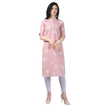 Light Peach Lafer Cotton Kurti