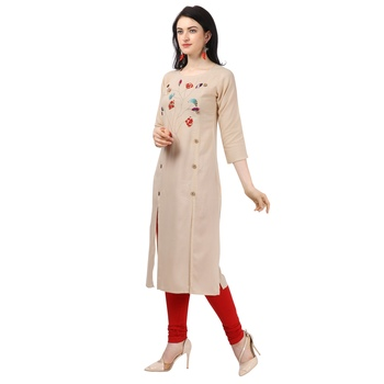 Beige Heavy Rayon Emblished kurti