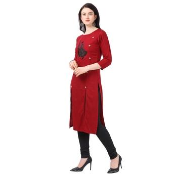 Red Heavy Rayon Emblished kurti