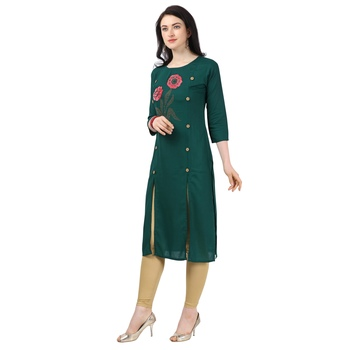 Green Heavy Rayon Emblished kurti