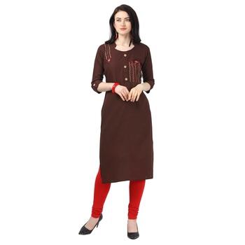 Brown Heavy Rayon Emblished kurti