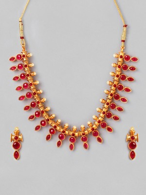 Gold Plated & Pink Kundan Stone Necklace Set