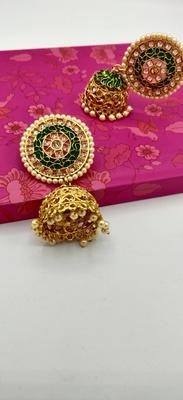 Gold Plated Designer Meenakari  Jhumka