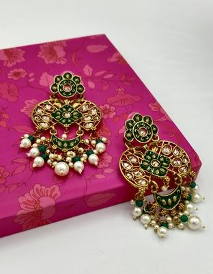 Green and Gold Plated  Meenakari Earrings
