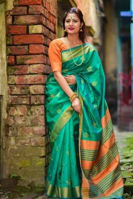 Torquise raw silk saree